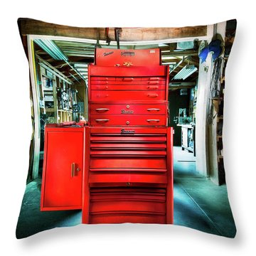 Mechanics Toolbox Cabinet Stack In Garage Shop Throw Pillow