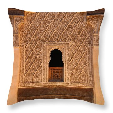 Throw Pillow featuring the photograph Medersa Ben Youssef by Ramona Johnston