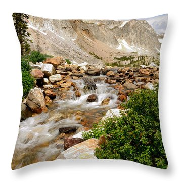 Medicine Bow Peak In The Snowy Range Wyoming Throw Pillow