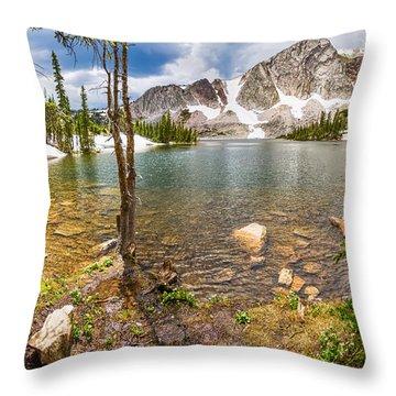 Medicine Bow Snowy Mountain Range Lake View Throw Pillow