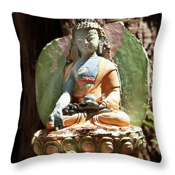 Throw Pillow featuring the photograph Medicine Buddha With Offerings by Carol Lynn Coronios
