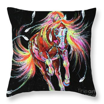 Medicine Fire Pony Throw Pillow by Louise Green