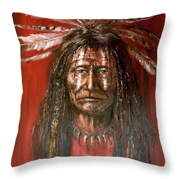 Medicine Man Throw Pillow by Arturas Slapsys