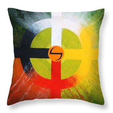Medicine Wheel Throw Pillow by J W Kelly