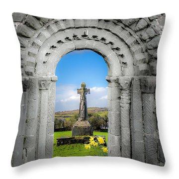 Medieval Arch And High Cross, County Clare, Ireland Throw Pillow