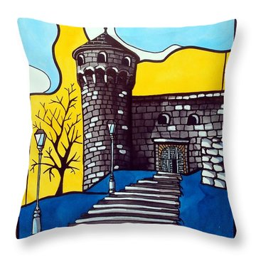 Throw Pillow featuring the painting Medieval Bastion -  Mace Tower Of Buda Castle Hungary By Dora Hathazi Mendes by Dora Hathazi Mendes