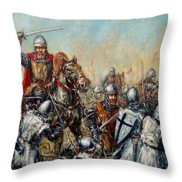Medieval Battle Throw Pillow by Arturas Slapsys
