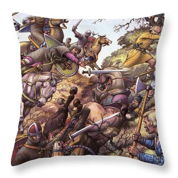 Medieval Battle Scene Throw Pillow