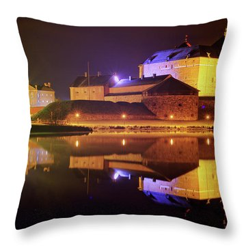 Medieval Castle By The Lake At Night Throw Pillow