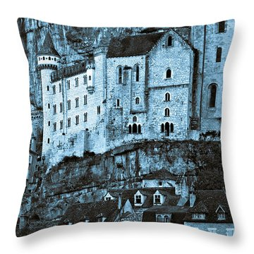 Medieval Castle In The Pilgrimage Town Of Rocamadour Throw Pillow
