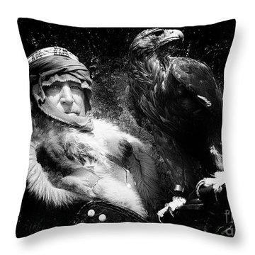 Throw Pillow featuring the photograph Medieval Fair Barbarian And Golden Eagle by Bob Christopher