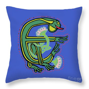 Medieval Frog Letter E Throw Pillow