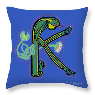 Medieval Frog Letter K Throw Pillow