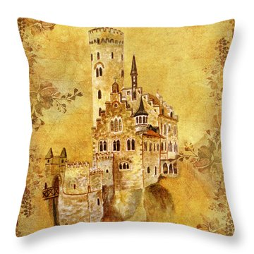 Medieval Golden Castle Throw Pillow