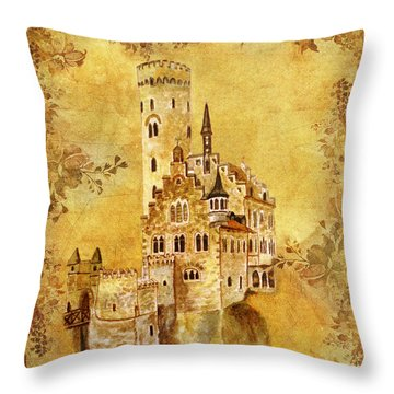 Throw Pillow featuring the painting Medieval Golden Castle by Angeles M Pomata