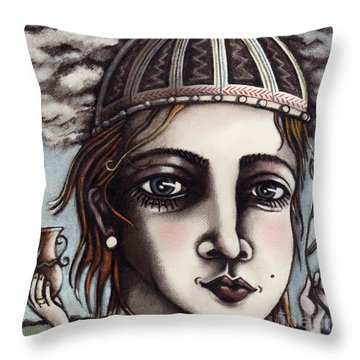Medieval Herbalist Throw Pillow