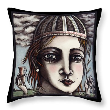 Throw Pillow featuring the painting Medieval Herbalist by Valerie White