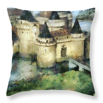 Medieval Knight's Castle Throw Pillow by Sergey Lukashin
