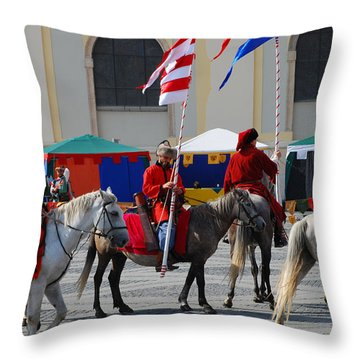 Medieval Knights Parade Throw Pillow by Adrian Bud