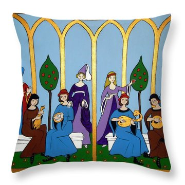 Throw Pillow featuring the painting Medieval Musicians by Stephanie Moore