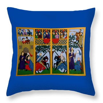 Medieval Scene Throw Pillow by Stephanie Moore