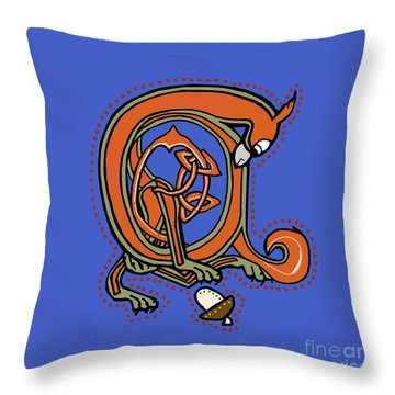 Medieval Squirrel Blue A Throw Pillow by Donna Huntriss
