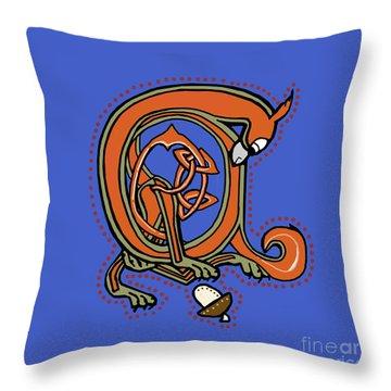 Medieval Squirrel Blue A Throw Pillow