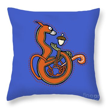Medieval Squirrel Blue Letter B Throw Pillow
