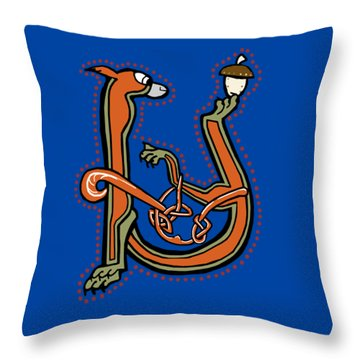 Medieval Squirrel Letter U Throw Pillow