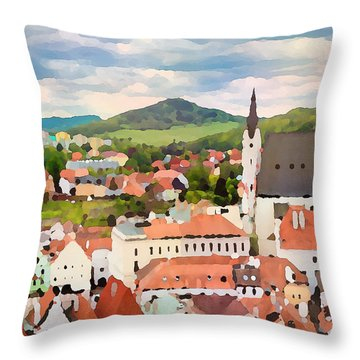 Medieval Village  Throw Pillow