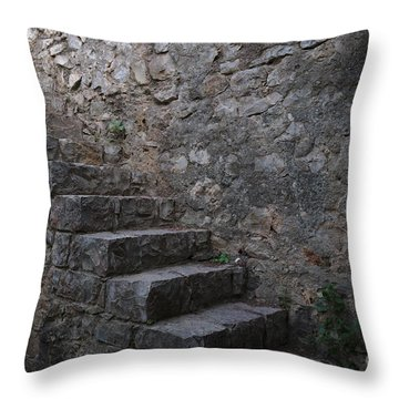 Medieval Wall Staircase Throw Pillow