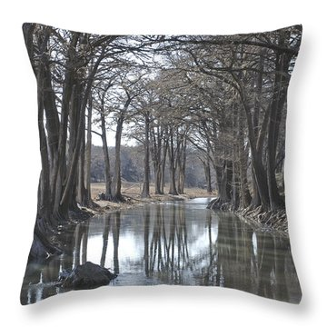 Medina River In Winter Throw Pillow