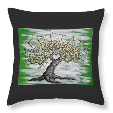 Throw Pillow featuring the drawing Meditate Love Tree by Aaron Bombalicki
