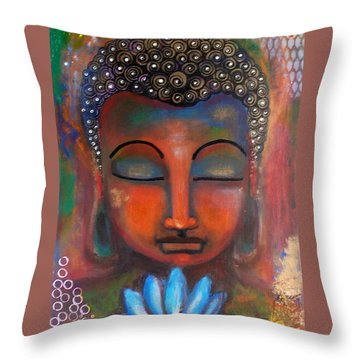 Throw Pillow featuring the painting Meditating Buddha With A Blue Lotus by Prerna Poojara