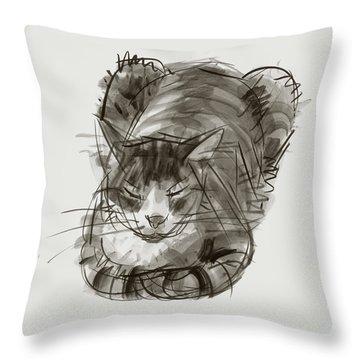 Meditating Cat Throw Pillow