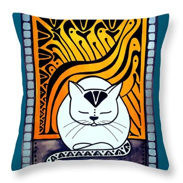 Meditation - Cat Art By Dora Hathazi Mendes Throw Pillow
