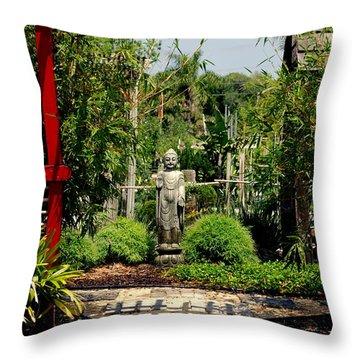 Meditation Garden Throw Pillow by Susanne Van Hulst