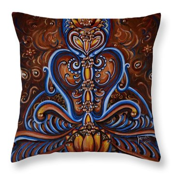 Throw Pillow featuring the painting Meditation by Harsh Malik