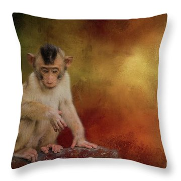 Meditative Throw Pillow by Eva Lechner