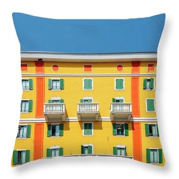 Mediterranean Colours On Building Facade Throw Pillow