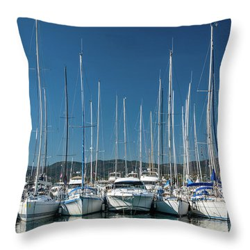 Mediterranean Marina Throw Pillow