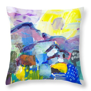 Mediterranean Mountains In Blazing Sun Throw Pillow