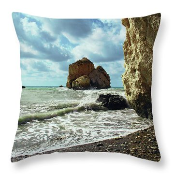 Mediterranean Sea, Pebbles, Large Stones, Sea Foam - The Legendary Birthplace Of Aphrodite Throw Pillow