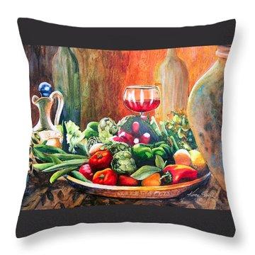Mediterranean Table Throw Pillow by Karen Stark