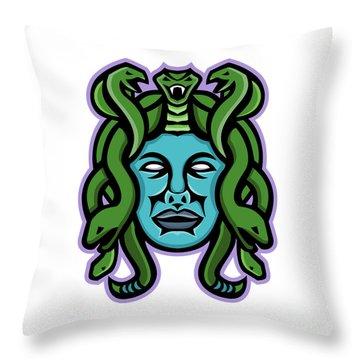 Medusa Greek God Mascot Throw Pillow