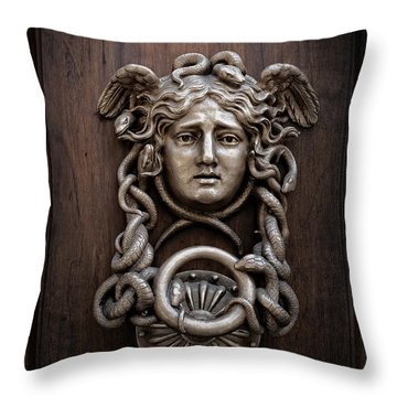 Medusa Head Door Knocker Throw Pillow by Edward Fielding