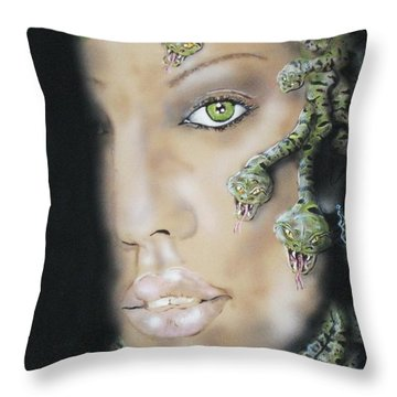 Medusa Throw Pillow by John Sodja