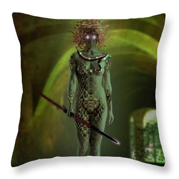 Medusa Throw Pillow by Scott Meyer
