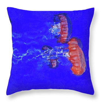 Throw Pillow featuring the digital art Medusas Jellyfishes by PixBreak Art