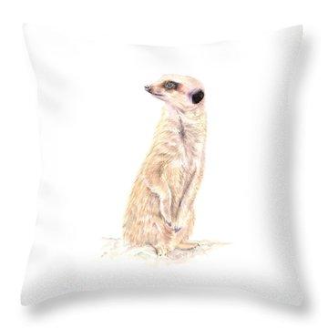 Meerkat In Charge Throw Pillow